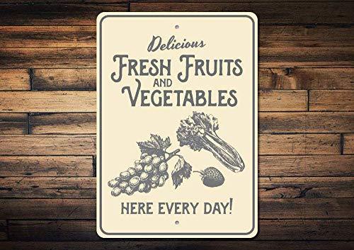 (Vegetables Sign, Fresh Fruit Sign, Metal Produce Sign, Fresh Produce Decor, Farmers Market Sign, Gardener Gift, Metal Aluminum Sign, 8