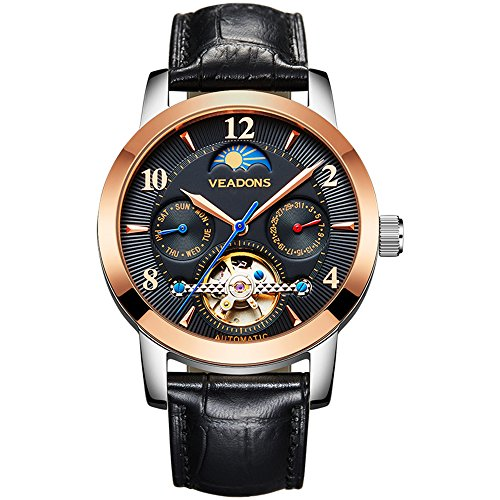 VEADONS Men's Luxury Skeleton Hollow Fashion Automatic Self-wind Male Business Leather Strap Wrist Watch