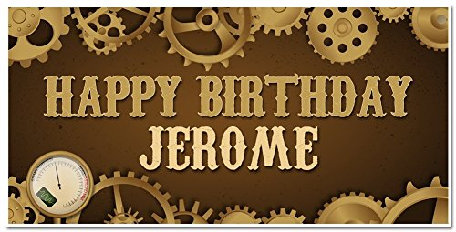 [Steampunk Birthday Banner - Personalized Party Decoration Backdrop] (Steampunk Decorations)
