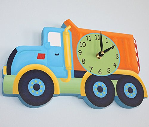 Bright Construction Dump Truck Wooden WALL CLOCK for Kids Bedroom Baby Nursery WC0048
