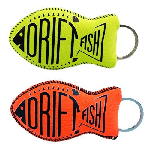 Floater Keychain - DriftFish Floating Neoprene Boat Keychain Key Float | Jumbo Size - Float 5 to 6 Keys | Waterproof Key Chain Buoy | Great for Boating and Water Sports, Green & Orange