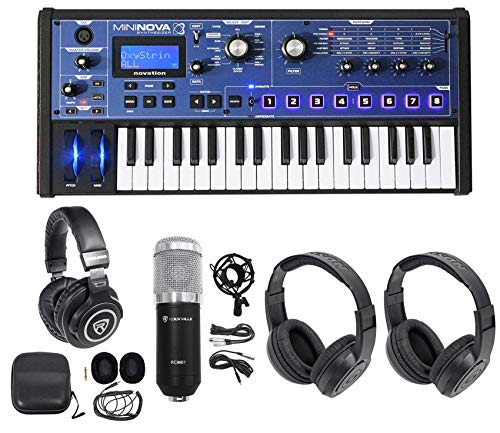 (Novation MiniNova 37-Key USB MIDI Keyboard Synth+(2) Headphones+Studio Mic)