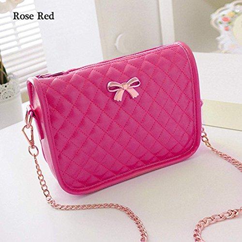 Red Leather Pu Rose Handbag Bag Crossbody Shoulder Small Messenger Eshion Satchel Retro q4wvPx7X