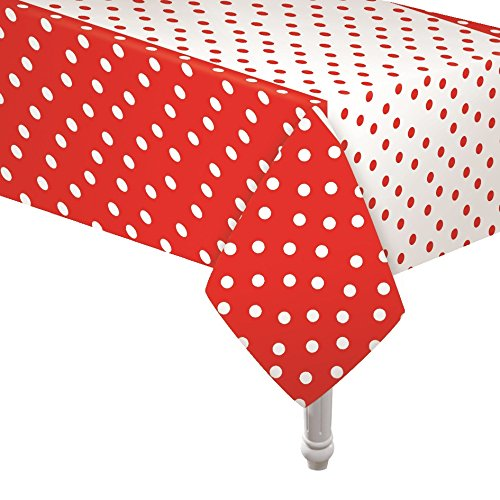 Oojami 4 Pack Polka Dot Plastic Tablecloth, 108 x 54, with White dots (Red) ()