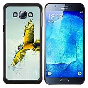 EJOOY---Cubierta de la caja de protección para la piel dura ** Samsung Galaxy A8 A8000 ** --Loro del vuelo Amarillo Arte Selva Blue Sky