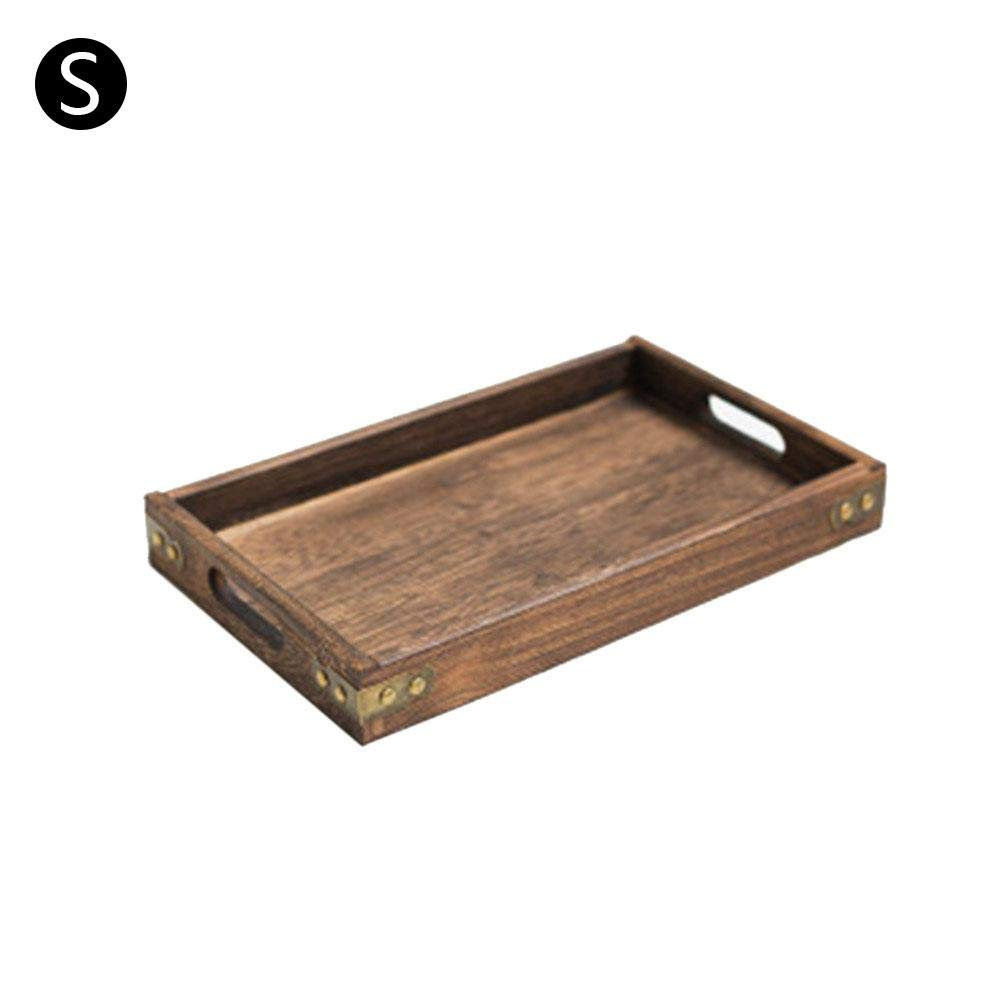 Rectangular Solid Tea Tray Serving Tray Wooden Breakfast Serving Tray With Handle For Tea Snack Dessert Kitchen Dining AUTOECHO Wooden Tray With Handles