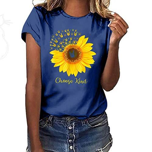 Shusuen Women's Sleeveless Summer Sunflower Print Floral Strappy Tank Tops I Love You 3000 Times Blouses Oversize Tees D Navy