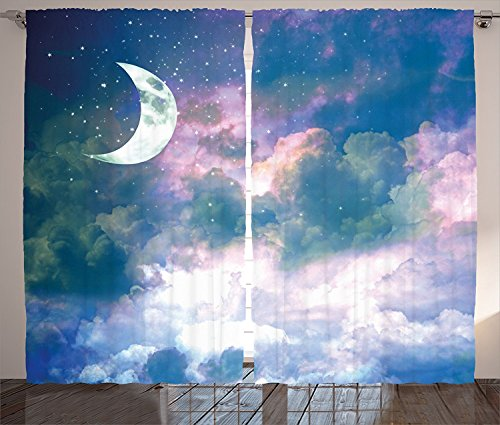 Apartment Decor Curtains Crescent Moon Sky at Starry Cloudspace Celestial Solar Orbit Double Exposure Art Living Room Bedroom Window Drapes 2 Panel Set Azure by sophiehome