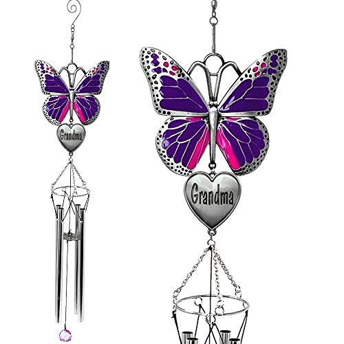 BANBERRY DESIGNS Grandma Windchime - Purple Butterfly Wind Chime Design with Engraved Grandmother Heart - Garden Wind Chimes