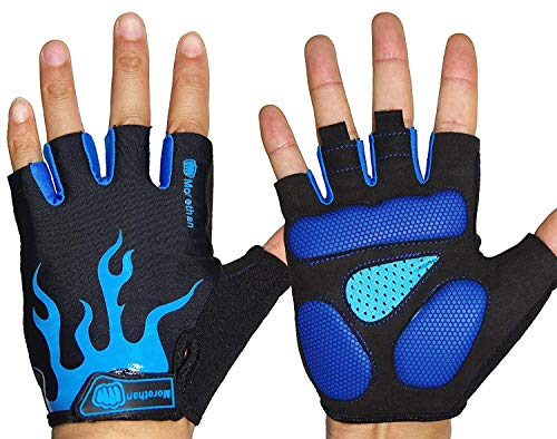 (Morethan Wildfire Cycling Gloves for Men Women, Half Finger Gel, Breathable Lycra, Anti-Slip Shock, Fingerless Mountain Bike Gloves (Blue and Black, XL))