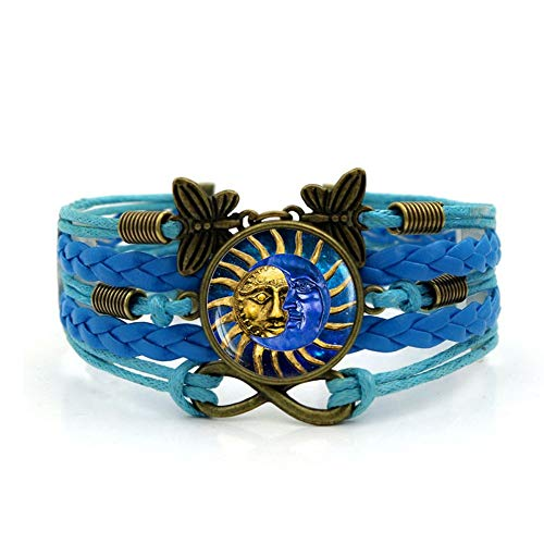 YUANOMSL Woven Bracelet,Blue Rope Sun Moon Personality Design,Time Gemstone Bracelet Multi-Layer Hand-Woven Glass Combination Jewelry Ladies Fashion European and American Style Jewelry ()