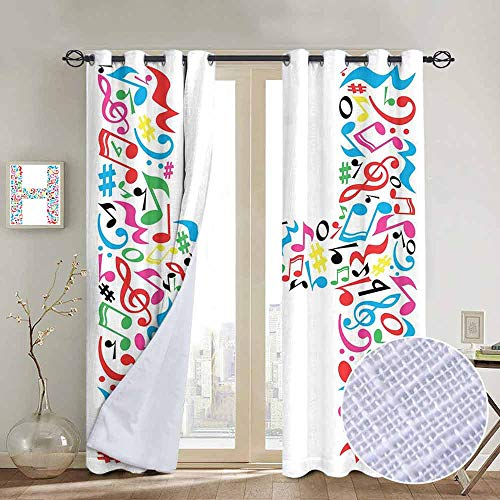 (NUOMANAN Living Room Curtains Letter H,Communication Tool Writing Language Element H Designed in Musical Notes Print,Multicolor,Adjustable Tie Up Shade Rod Pocket Curtain 84