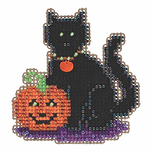 Wendy's Cat Beaded Halloween Counted Cross Stitch Kit Mill Hill 2105 Autumn Harvest MH185206]()