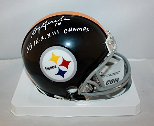 Roy Gerela Signed Steelers 63-76 Mini Helmet W/ SB Champs- Jersey Source white (Jersey White Roy)