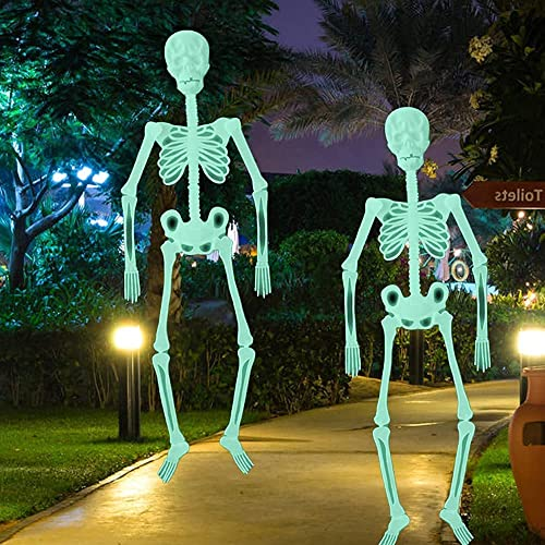Halloween Hanging Luminous Skeleton Decorations, 36 Inch Full Body Glow-in-The-Dark Skeleton for Halloween Party Bar Wall Sticker Decorations Outdoor Yard Garden Hanging Ornaments Props