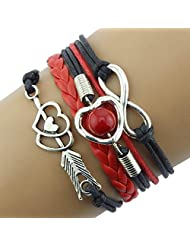 Susenstone® 1PC Infinity Love Heart Pearl Friendship Antique Leather Charm Bracelet