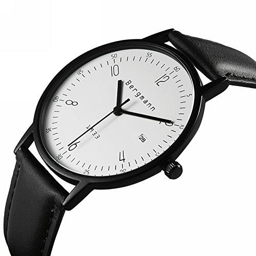 amazon com bergmann brand 6mm extra thin watches for men large amazon com bergmann brand 6mm extra thin watches for men large case black leather white dial vintage watch date 1933 bergmann watches
