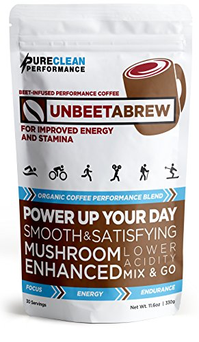 UNBEETABREW Organic Performance Coffee Powder 30 Servings Beet and Mushroom-Infused. Great Tasting. Promotes Focus, Athletic Performance and Cardiovascular Health.