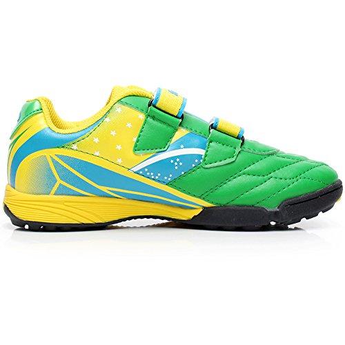 Shenn Niños Respirable Anti-Deslizante Intemperie Cuero Atlético Zapatos 13135 Verde