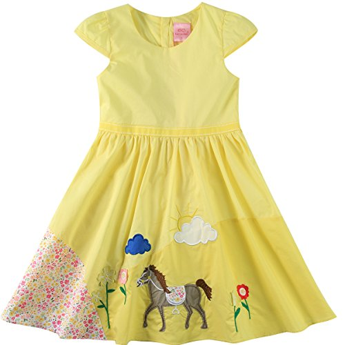 Sharequeen Yellow Cotton Kids Dresses Embroider Decoration Lining Party Dresses Pageant Unique Design (8-9 Years, Yellow)]()