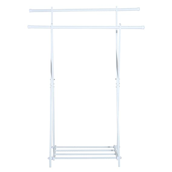 HomCom Perchero de Pie en Forma de X con 2 Barras y 1 Estante - Color Blanco - 104.5x48.5x145cm