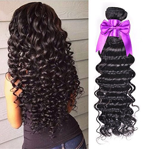 OYM HAIR 4 Bundles Brazilian Virgin Hair Deep Wave Extensions 10A unprocessed Human Hair Weave Natural Color can be Dyed and Bleached (8 10 12 14) Deep Wave