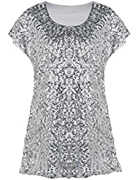 Women s Sequin Top Shimmer Glitter Loose Bat Sleeve Party Tunic Tops ·  PrettyGuide 7236fff90c