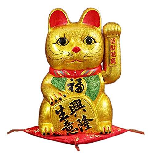 """17"""" Waving Lucky Fortune Cat Maneki Neko Japanese Porcelain Lucky Cat"""