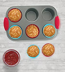 Nonstick Bakeware 6-Cup Muffin Pan with Silicone Cupcake Liners (Set of 6) by Boxiki Kitchen | Premium Nonstick Baking Muffin Tin and Muffin Cups