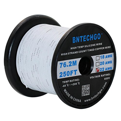 BNTECHGO 22 Gauge Silicone Wire Spool White 250 feet Ultra Flexible High Temp 200 deg C 600V 22 AWG Silicone Rubber Wire 60 Strands of Tinned Copper Wire Stranded Wire for Model Low Impedance