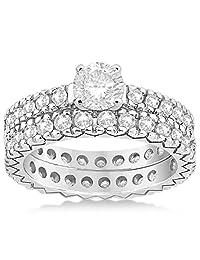 Diamond Eternity Bridal Ring Engagement Set Palladium 0.95ct (No center stone included)w