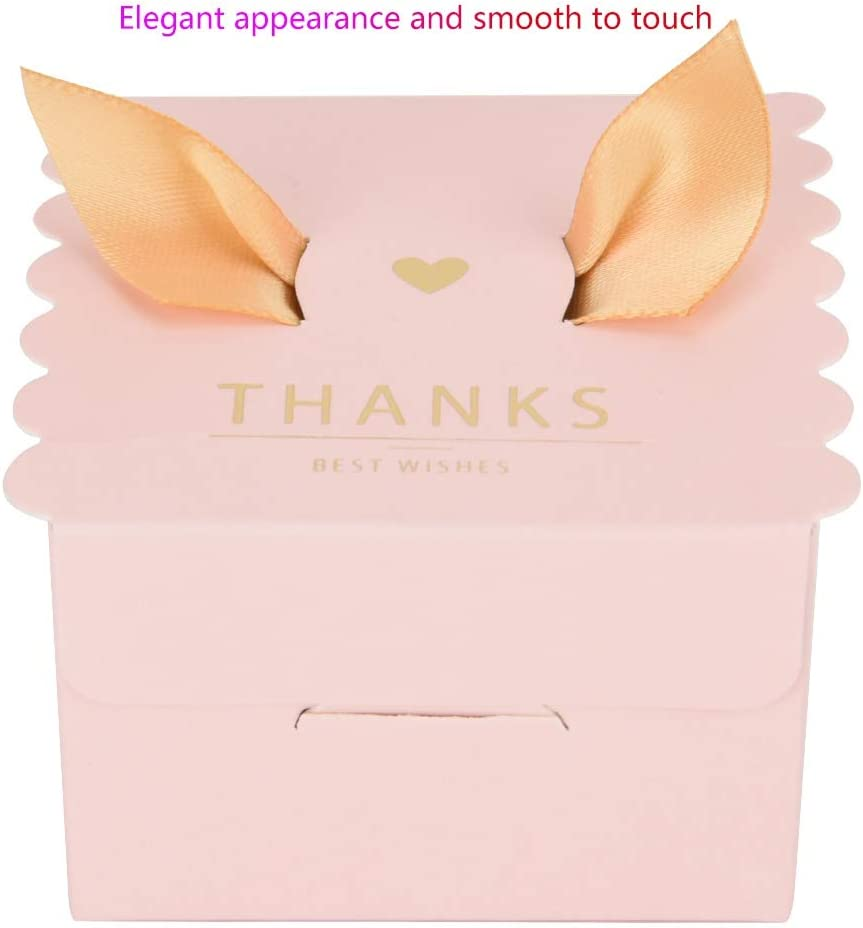 Wifehelper 50 pcs Gift Candy Box Bulk Wedding Party Paper Candy Chocolate Cake Decoration Box with Ribbon Party Favor Box Gift Marble Golden Wings