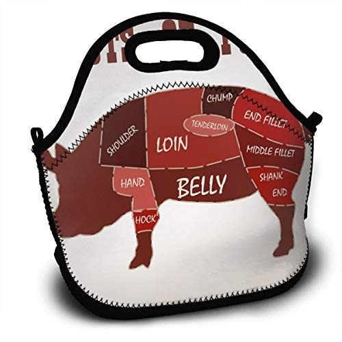Insulated Lunch Bag - Cuts of Pork Reusable Lunch Tote Lightweight Lunch Holder with Adjustable Shoulder Strap Lunch Organizer for Kids Adults in Office, School Or Outdoor Travel Picnic