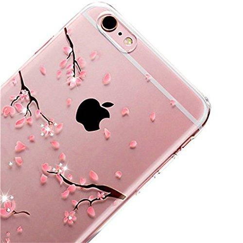 Custodia per iPhone 7,Aearl TPU GEL Trasparente Cristallo Sottili Cover per iPhone 8,Lusso Bling Glitter Diamante Copertura Case per iPhone 7 / 8 + HD Proteggi Schermo Pellicola,Fiore di Ciliegio