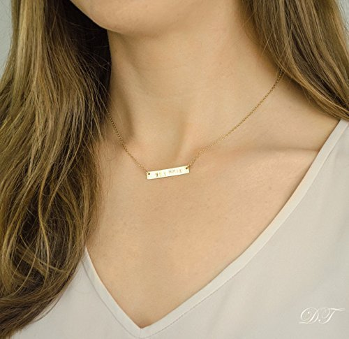 Gold Filled or Sterling Silver Bar Necklace, Personalized Na