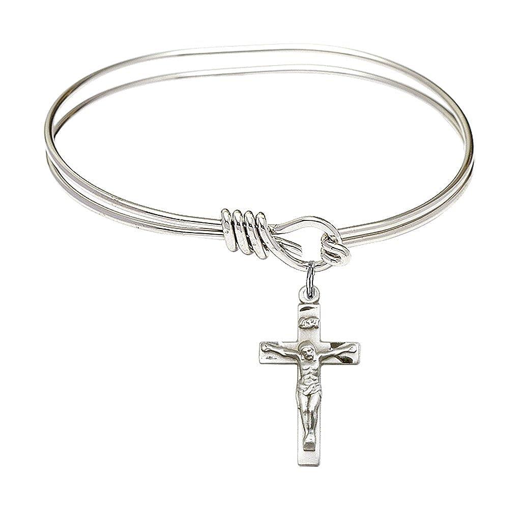 Chalice charm. 5 3//4 inch Oval Eye Hook Bangle Bracelet with a Heart