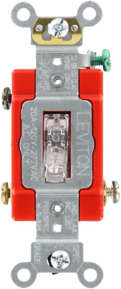 Leviton 1221-PLC 20-Amp, 120 Volt, Toggle Pilot Light, Illuminated On, Req,  Neutral Single-Pole AC Quiet Switch, Extra Heavy Duty Grade, Self  Grounding, Clear - Wall Light Switches - Amazon.comAmazon.com