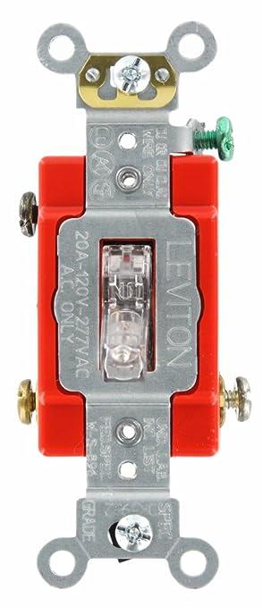 Leviton 1221-PLC 20-Amp, 120 Volt, Toggle Pilot Light, Illuminated ...