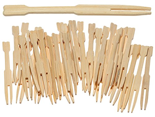 Prexware 100 Pc 3.5 Inch Bamboo Party Forks Party Buffet Mini Forks 3.5 Inch 100 (Little Forks)