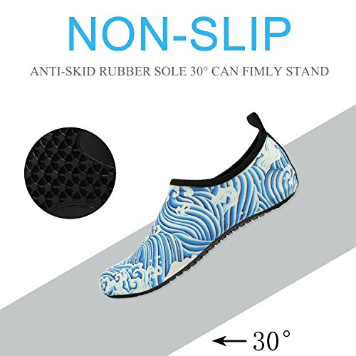 Yoga For Women Shoes Eastsure Swim Beach Snorkeling Men Sport Surf Socks Water Blue Wavy Aqua nRwg47Sqw