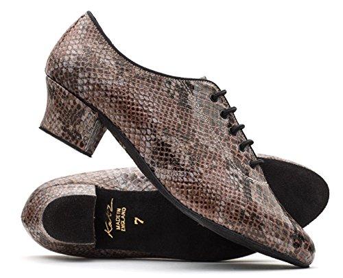 Chaussures Stage Daim En Ballroom Par Dames Python Lacets Semelle Dancewear Pratique Marron Pu Katz Showtime C0xOwAPqx