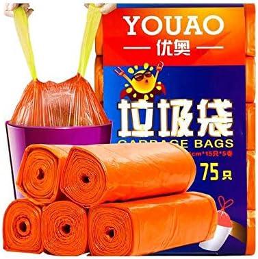 SHKRRB ごみ袋、PE材料ごみ袋、厚手の巾着ごみ袋、ファミリーキッチンホテルスタジオに適した、55CM * 44CM、5ロール (Color : Orange)