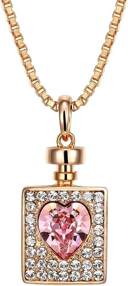 Blue Pearls Colgante Botella de corazón cristal Swarovski Elements Rosa - CRY E741 J