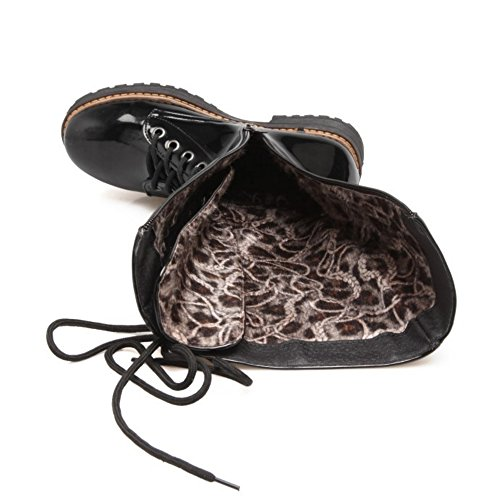 Martin KemeKiss Fashion Black Women Zipper Calf Boots Mid Combat nZRnvrI