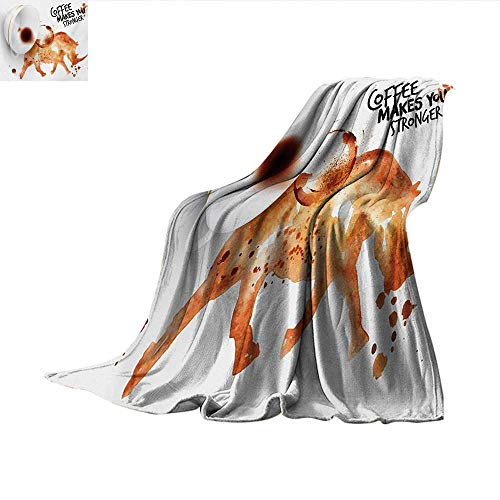 - Coffee Art Weave Pattern Blanket Wild Rhino Animal from Spilled Hot Beverage Stain Latte Cappuccino Summer Quilt Comforter 62
