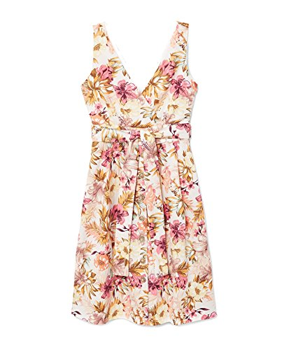 Mango Floral Damen 33060929 Blend Linen Print Dress 4r4wFqSxn