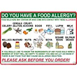 DO YOU HAVE A FOOD ALLERGY? A5 LAMINATED POSTER