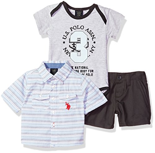 (U.S. Polo Assn. Baby Boys Long Sleeve Woven, T-Shirt and Short Set, The The Sport of Polo Multi Plaid 18M)
