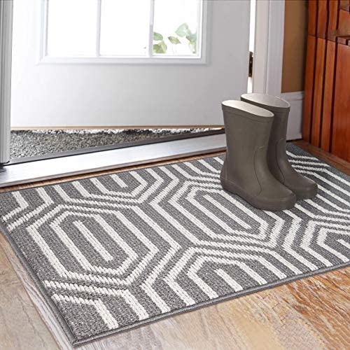 Indoor Doormat 32 x 48 , Absorbent Front Back Door Mat Floor Mats, Rubber Backing Non Slip Door Mats Inside Mud Dirt Trapper Entrance Door Rug Carpet, Machine Washable Low Profile-Grey Time Cloister