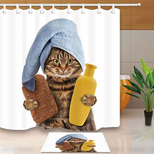 ChuaMi Funny Cat Shower Curtain and Rug Set, Blue Towel and Yellow Bottle, White Bathroom Fabric 70 x 82 Inches Decor Design with 12 Hooks and Anti-Slip 40 x 60cm Bath Mat (Blue Towels And Yellow)